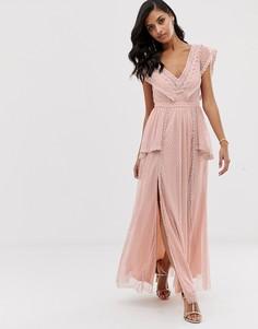 Серо-коричневое платье макси Lace & Beads-Розовый
