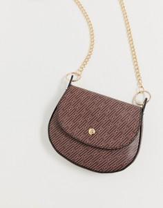 Небольшая сумка-седло через плечо с монограммой ASOS DESIGN-Коричневый