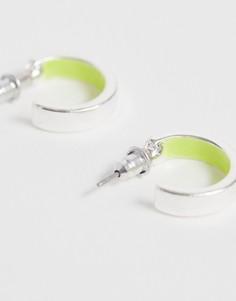 Серебристые серьги-кольца с неоновой отделкой ASOS DESIGN-Серебряный