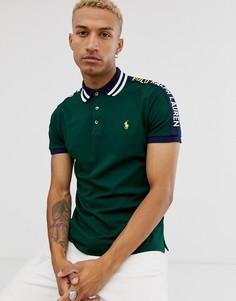 Зеленое поло из пике с логотипом и отделкой на воротнике Polo Ralph Lauren-Зеленый