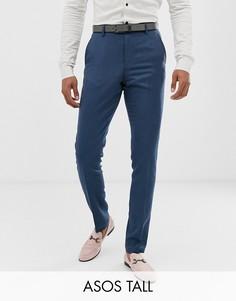 Синие саржевые брюки скинни ASOS DESIGN Tall wedding-Синий