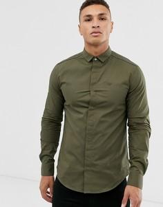 Облегающая рубашка хаки с длинными рукавами и окантовкой Emporio Armani-Зеленый