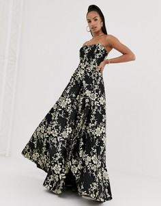 Черное/золотистое платье макси с открытыми плечами Bariano-Черный