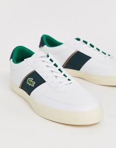 Белые кожаные кроссовки с зелеными полосками по бокам Lacoste - Courtmaster-Белый