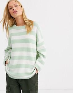 Джемпер с полосками Selected-Зеленый