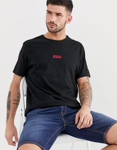 Черная свободная футболка с маленьким вышитым логотипом-ярлыком Levis-Черный
