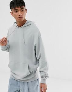 Серый удлиненный oversize-худи ASOS DESIGN