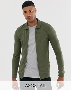 Обтягивающая трикотажная куртка Харрингтон цвета хаки ASOS DESIGN Tall-Зеленый