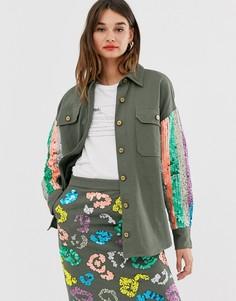Джинсовая куртка с отделкой пайетками на рукавах Essentiel Antwerp-Серый