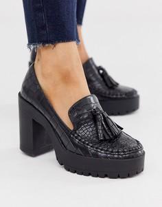 Черные туфли на массивной платформе с крокодиловым рисунком London Rebel-Черный