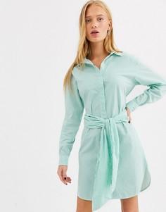 Платье с поясом Selected-Зеленый
