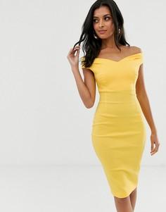 Облегающее платье миди с открытыми плечами Vesper-Желтый