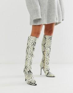 Сапоги до колен со змеиным принтом на каблуке-шпильке Lost Ink-Мульти
