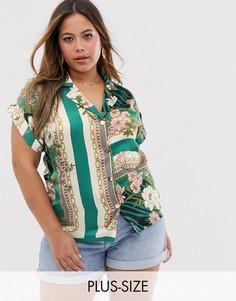 Рубашка в стиле милитари River Island Plus-Мульти