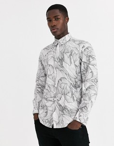 Белая футболка с принтом Selected Homme-Белый