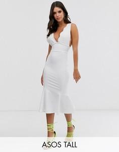 Платье миди с кружевным топом ASOS DESIGN Tall-Белый