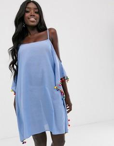 Синее пляжное платье с отделкой помпонами Anmol-Синий