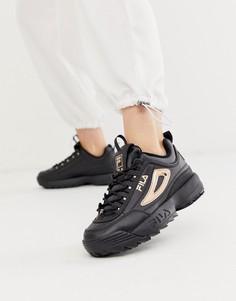 Черные кроссовки с розово-золотистой отделкой Fila Disruptor II-Черный