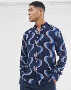 Темно-синяя рубашка с узором Farah-Темно-синий