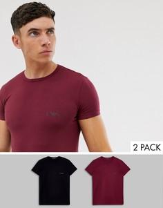 Набор из 2 облегающих футболок черного и бордового цвета с логотипом Emporio Armani-Черный