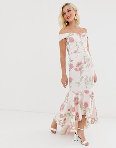 Платье макси с цветочной вышивкой Chi Chi London-Мульти
