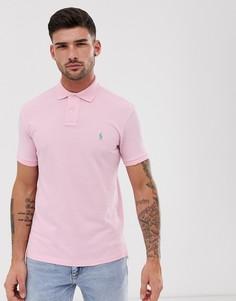 Светло-розовое поло зауженного кроя из ткани пике Polo Ralph Lauren-Розовый