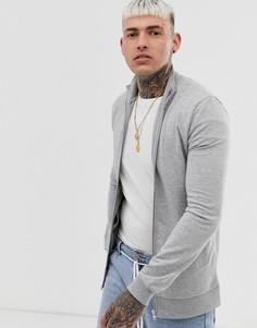 Серая меланжевая спортивная куртка ASOS DESIGN-Серый