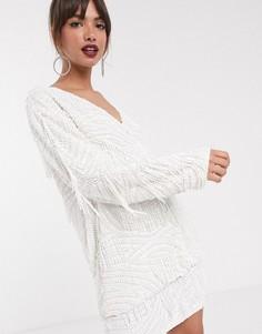 Oversize-куртка с бахромой из бусин ASOS EDITION-Белый