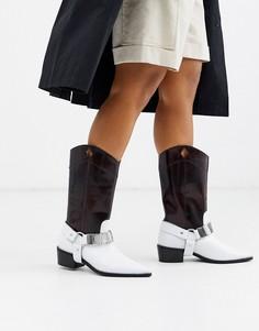 Кожаные ковбойские ботинки ASOS DESIGN-Коричневый