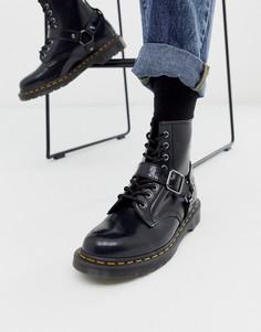 Лакированные ботинки с люверсами и ремешками Dr Martens 1460 - 8 пар люверсов-Черный