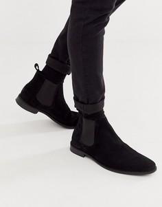 Черные замшевые ботинки челси с черной подошвой ASOS DESIGN-Черный