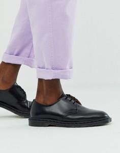 Черные полированные ботинки с 3 парами отверстий для шнурков Dr Martens - Archie-Черный