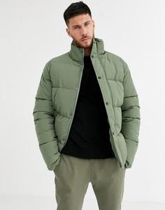 Зеленая дутая куртка с воротником-стойкой ASOS DESIGN-Зеленый