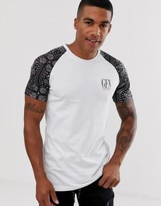 Белая обтягивающая футболка с принтом пейсли на рукавах реглан Good For Nothing-Белый