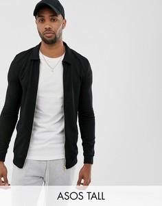 Черная трикотажная куртка Харрингтон ASOS DESIGN Tall-Черный
