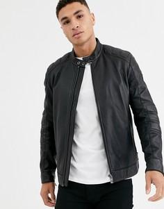 Черная кожаная байкерская куртка BOSS Jagson2-Черный