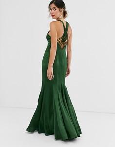 Атласное платье макси с годе и отделкой в стиле макраме на спине ASOS DESIGN-Зеленый
