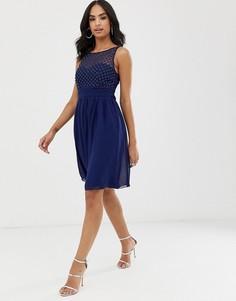 Шифоновое платье миди для выпускного с искусственным жемчугом Little Mistress-Темно-синий
