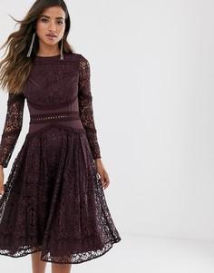 Кружевное платье для выпускного с длинными рукавами и отделкой ASOS DESIGN-Фиолетовый