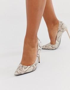 Туфли на шпильке со змеиным принтом и заостренным носком Truffle Collection-Бежевый