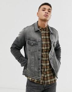 Джинсовая приталенная куртка с нагрудным карманом Jack & Jones Intelligence-Черный