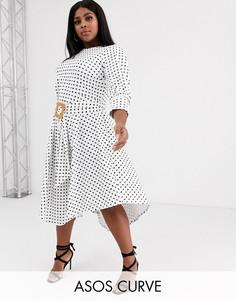 Чайное платье миди с асимметричной юбкой и принтом ASOS DESIGN Curve-Зеленый
