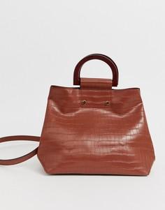Коричневая сумка-тоут с эффектом крокодиловой кожи и ручками под дерево Accessorize-Коричневый