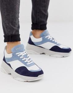 Синие кожаные кроссовки премиум-качества на массивной подошве Selected Homme-Синий