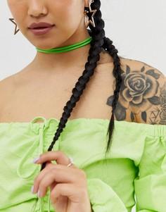 Ожерелье-чокер из искусственной кожи ASOS DESIGN-Зеленый