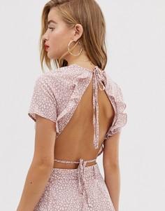 Розовый кроп-топ с леопардовым принтом, открытой спиной и оборками In The Style x Dani Dyer-Мульти