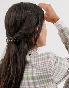 Черепаховая заколка для волос с цветочной отделкой Margherita-Коричневый