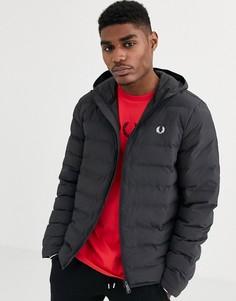 Черная дутая куртка с капюшоном Fred Perry-Черный