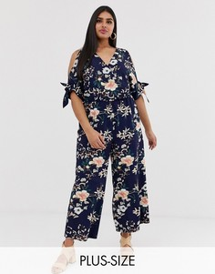 Темно-синий комбинезон с открытыми плечами и цветочным принтом Simply Be-Мульти