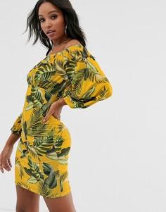 Сарафан с открытыми плечами и пальмовым принтом ASOS DESIGN-Мульти
